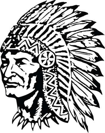 Indian Chief in War Bonnet Headdress Vector Illustration