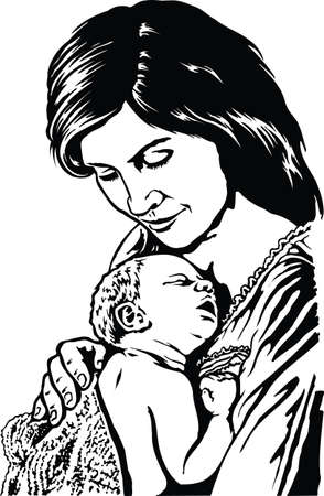 Mother and Child Vector Illustration
