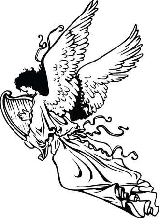 Angel with Harp Vector Illustration
