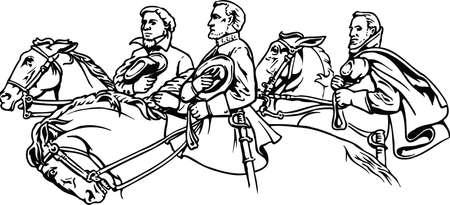 Stone Mountain Confederate Memorial Vector Illustration