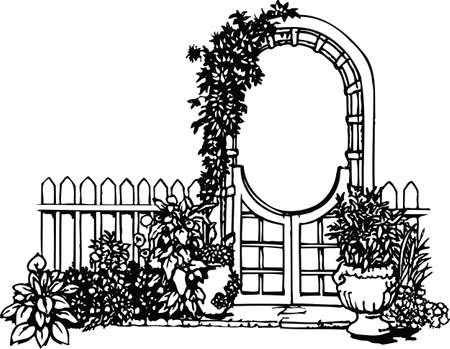 Garden Gate with Flowers Vector Illustration Illustration