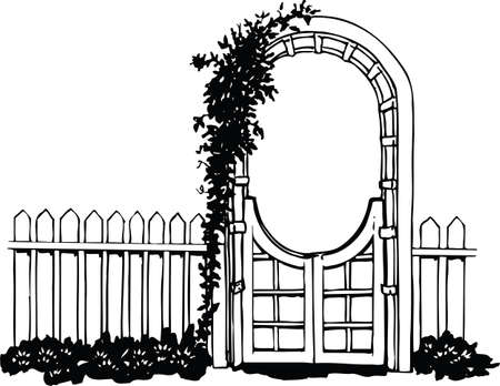 Garden Gate with Flowers Vector Illustration