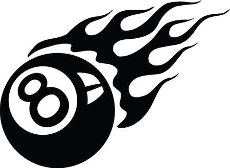 Flaming Eight Ball Vector Illustration