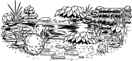 Pond Scene Vector Illustration