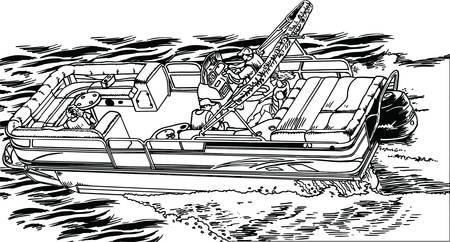 Déposez l'illustration vectorielle de bateau ponton haut