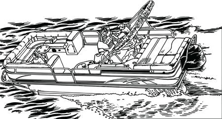 Drop Top Pontoon Boat Vector Illustration