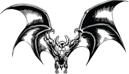Bat Outta Hell Cartoon Vector Illustration Çizim