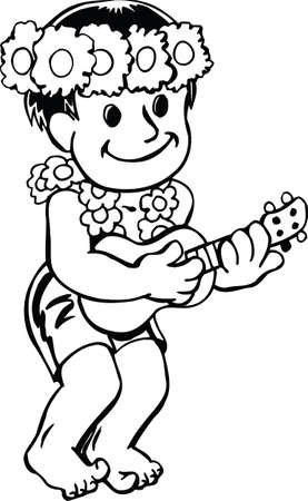 Luau Boy Cartoon Vector Illustration Vektorové ilustrace