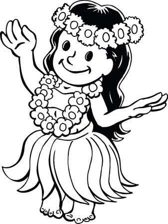 Luau Girl Cartoon Vector Illustration