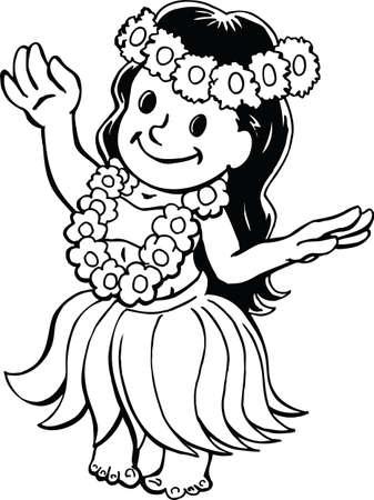 Luau Girl Cartoon Vector Illustration