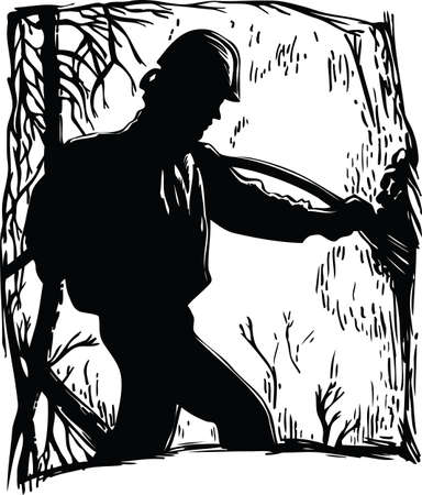 Firefighter Silhouette at a Forest Fire Vector Illustration Banque d'images - 140410898