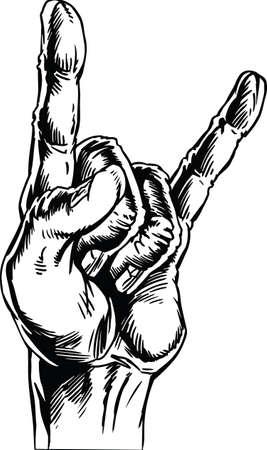 We Rock Hand Vector Illustration