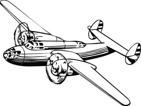 World War 2 Airplane Vector Illustration