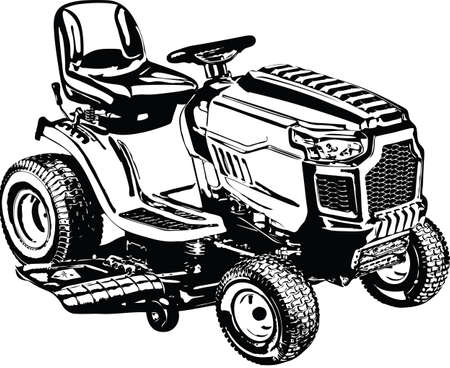 Riding Lawnmower Lawn Tractor Vector Illustration Illustration