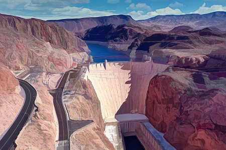 Hoover Dam Digital Painting Banque d'images - 145965545