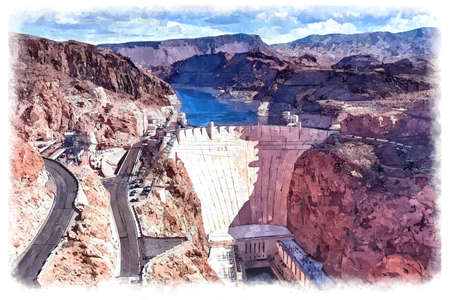 Hoover Dam Digital Watercolor Painting Banque d'images