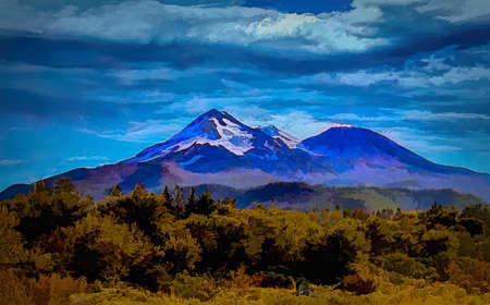 Mount Shasta Digital Line and Ink Painting Banque d'images