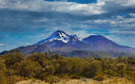 Mount Shasta Digital Watercolor Painting