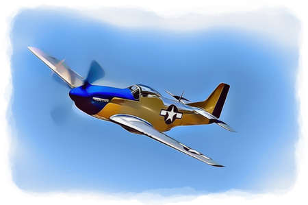 Mustang P-51 Fighter Aircraft Illustration