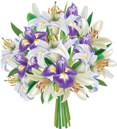 Bouquet of Irises and Lilies Vector Illustration