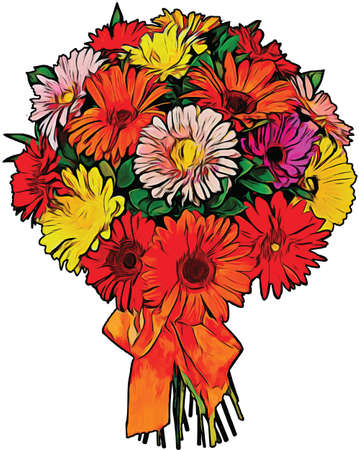Bouquet of Daisies Vector Illustration Banque d'images - 147313001