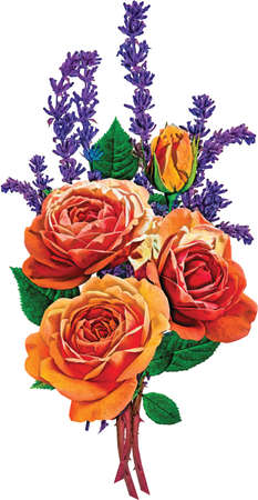 Bouquet of Roses and Lilac Vector Illustration Illustration