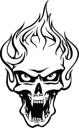 Flaming Skull with Fangs Vector Illustration