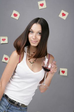 Woman with glass red wine photo