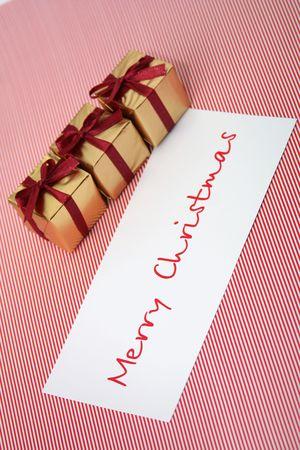 congratulatory: Christmas boxes with a congratulatory card