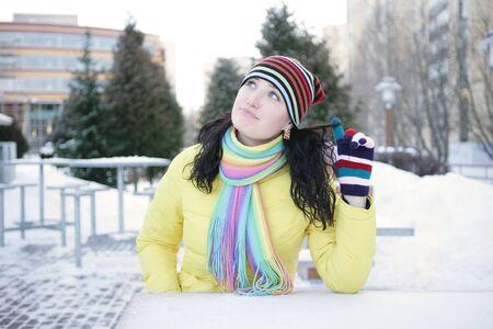 Cheerful girl in winter  photo