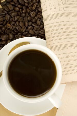 Caffeine Drink & Newspaper  photo