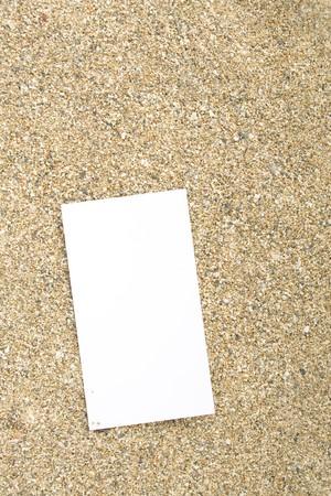 businesscard: Businesscard on sand Stock Photo