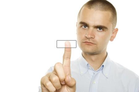 Businessman pressing a button photo