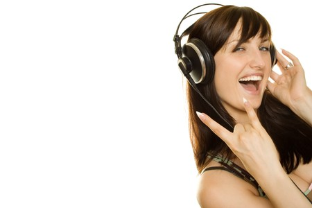 Woman listening to music and singing. Rock Music Stock Photo - 7560561
