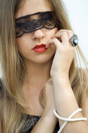 Mysterious pretty fashionable girl photo