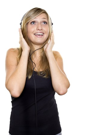Woman listening to music and singing Stock Photo - 7961042
