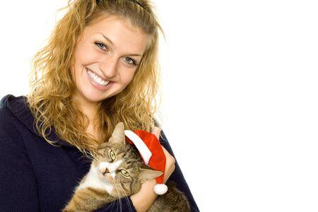 Girl and Santa cat photo