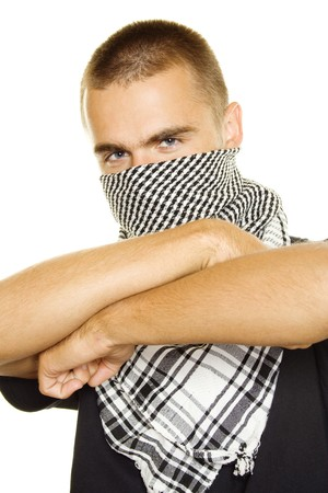palestinian: Young man in a Palestinian scarf