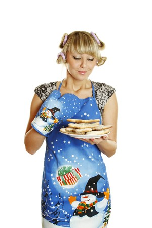 Young woman prepared cookies for Xmas photo