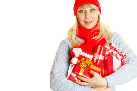 Young woman holding many gift boxes Stock Photo - 8168672
