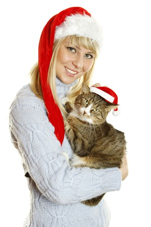 Girl and Santa cat photo