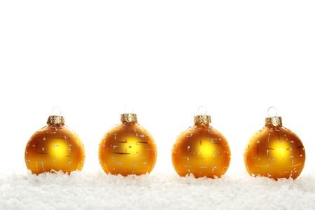 Christmas balls on snow photo