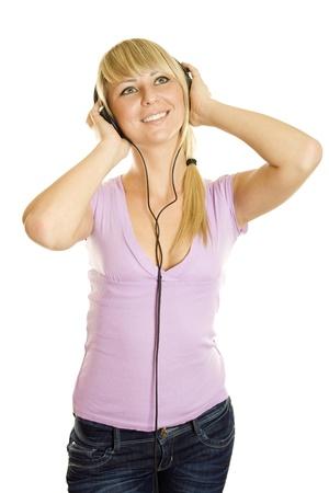 Woman listening to music Stock Photo - 8478178