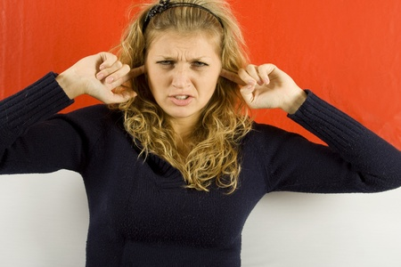 unwillingness: Neither want to hear Stock Photo