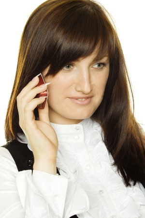 Young business woman talking on the phone photo