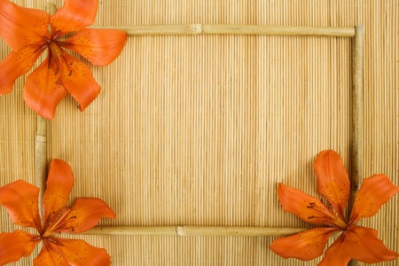Frame of flowers and bamboo sticks photo