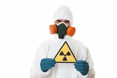 radiacion: Hombre con traje de protecci�n Foto de archivo