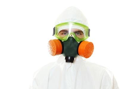 symbole chimique: Homme en costume de protection Banque d'images