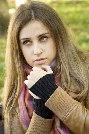 Attractive girl in park photo