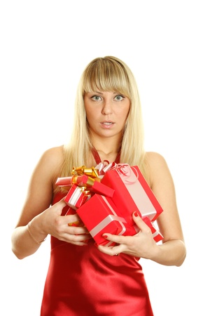 Closeup of an attractive woman with a gifts Stock Photo - 9329214